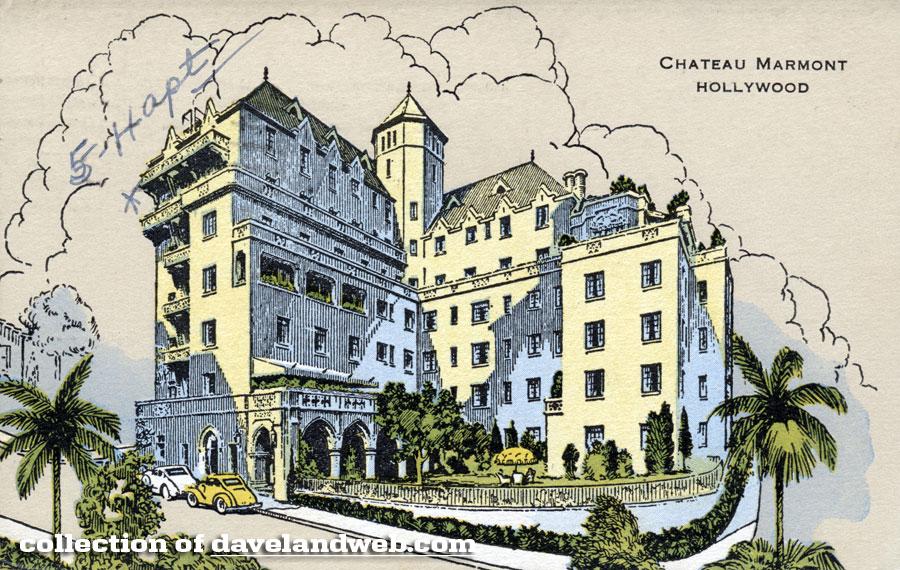 Vintage Chateau Marmont postcard 1940